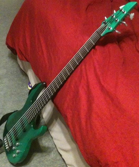My Carvin 6 String Fretless Bass Guitar Green