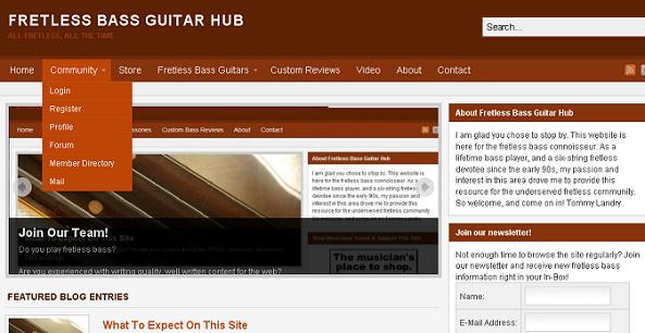 Community Dropdown Screenshot | Fretless Bass Guitar Hub