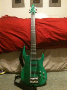 The Green Monster Carvin Fretless Bass Guitar